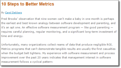 10 Steps to Better Metrics