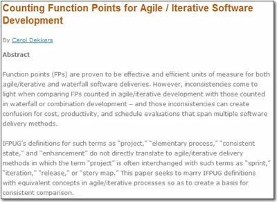 Counting Function Points for Agile