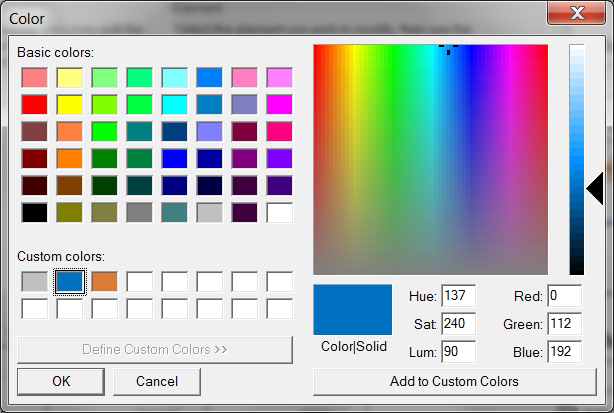 Define Custom Colors