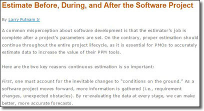 Estimate Before, During, and After the Software Project