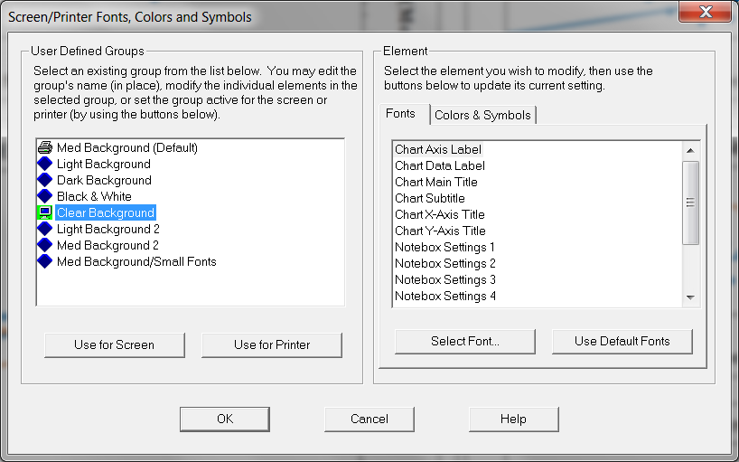 Screen Printer Fonts Colors and Symbols