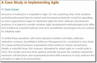 A Case Study in Implementing Agile