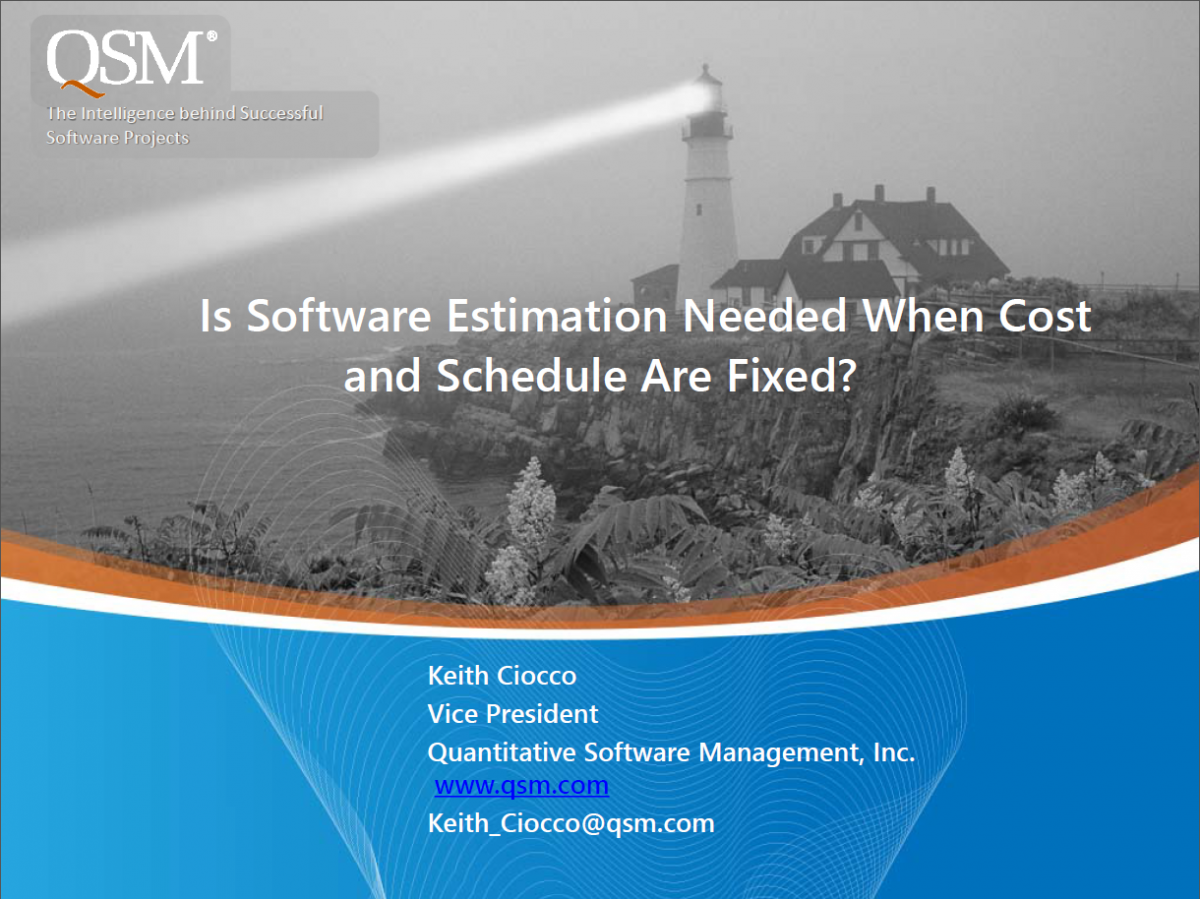 Fixed Cost and Schedule Estimation Webinar