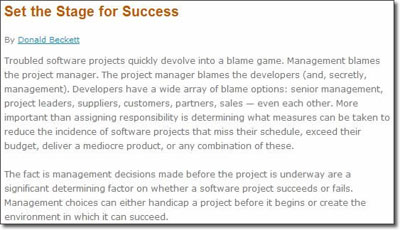 Set the Stage for Software Project Success